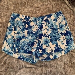 Blue and white Floral Shorts